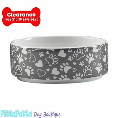 Ceramic Bowl with Dog Paw and Hearts 16cm diameter and 7cm high