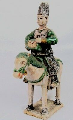 Ming Dynasty Terracotta Tomb Attendant Horse & Rider W/Treasure Box (Certified)