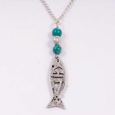 St Justin Pewter Turquoise Blue Fish Drop Pendant Necklace in Gift Box PN738