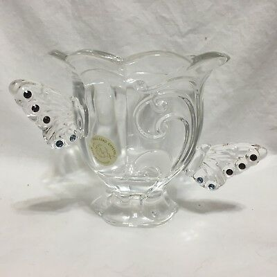 """Lenox , FULL Lead Crystal ,Butterfly Votive/candle holder 4.5"""" tall,GERMANY !!"""