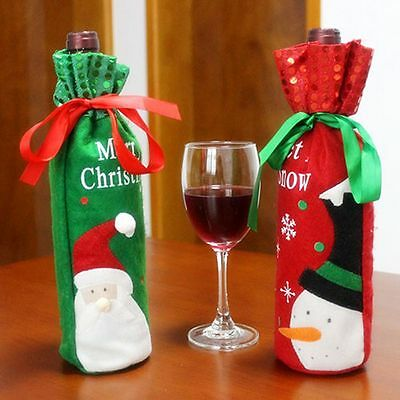 Christmas Santa Claus Snowman Red Wine Bottle Cover Bags Xmas Party Dinner Decor