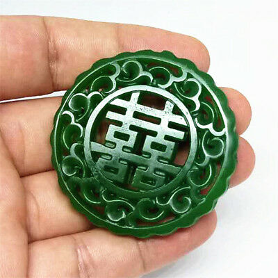Natural jade statue Hollow out 喜  jade Pendant Necklace Amulet engraving