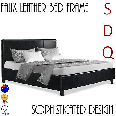 New SINGLE DOUBLE QUEEN SIZE BED FRAME Headboard Wooden Base PU Leather Black