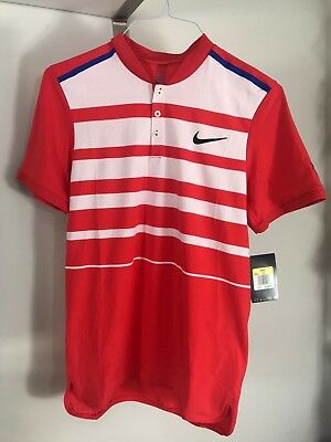 377a7b24 Nike Dri-Fit Roger Federer Men's Polo Tennis Shirt White/ Red - Small $100