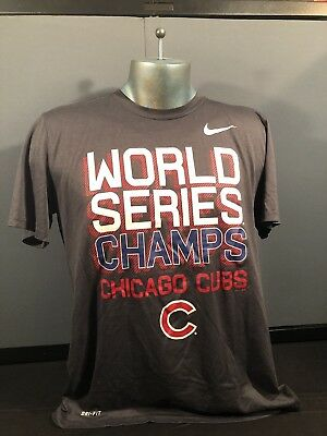 half off 22576 d04a3 CHICAGO CUBS WORLD Series Champs Nike Dri-Fit T- Shirt Large