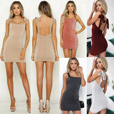 Sexy Womens Summer Straps Bodycon Backless Dress Ladies Party Short Mini Dress