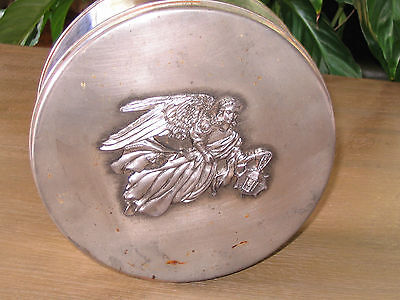 Vintage Victorian Style Christmas Archangel Round Metal Cookie Box