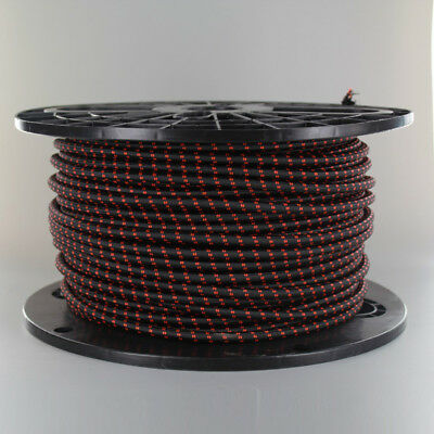 BLACK w/ RED TRACER ~ 3 Wire ~ Vintage ROUND Pendant Fabric Lamp Cord ~ by PLD