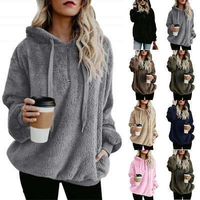UK Ladies Warm Fleece Hooded Hoody Sweatshirt Hoodies Womens Winter Jumper Tops