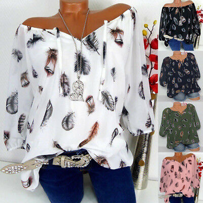 Women V Neck Feather Loose Tops Ladies Half Sleeve Casual Off Shoulder Blouse