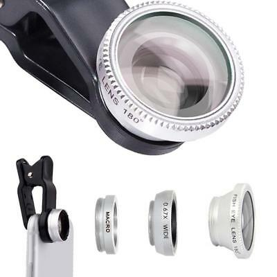 Universal 3 in 1 Clip on Mobile Phone Camera Lens Kit Wide Angle Fish Eye  COP