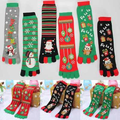 Women Girl Christmas Snowman Socks Cartoon Cotton Long Five Finger Hot Toe Uzlh
