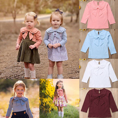 AU Toddler Infant Kids Baby Girls Long Sleeve Shirt Tops Princess Bowknot Blouse