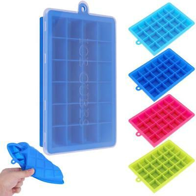 24 Grids Frozen Cubes Silicone Pudding DIY Ice Cube Tray Ice Maker with Lid Mold
