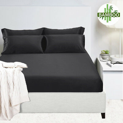 400TC Premium Bamboo Cotton Fitted Sheet Queen King Mega Size Sets Bed Sheets