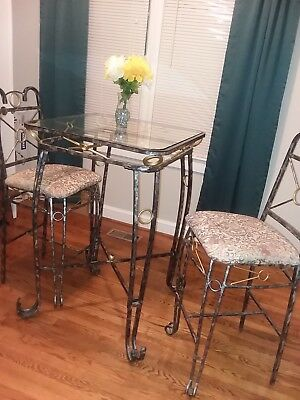 Pub table/dining table/dinette set with glass top and 2 chairs