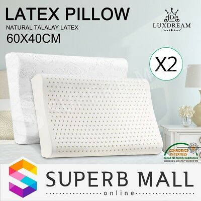2x Bedding 100% Natural Latex Pillow Bed Sleeping Support  Plush Velour Cover