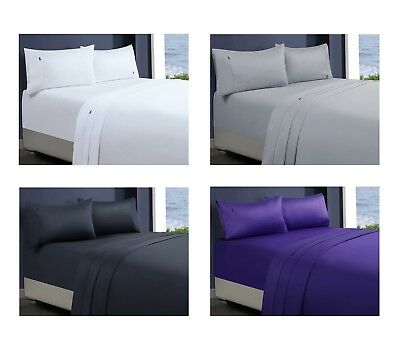1000TC Sateen Egyptian Cotton Bed Sheets Fitted Sheet Queen King Single Double