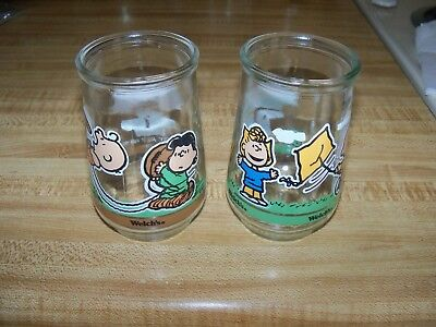 Welchs Peanuts Comic Classics Jelly Jar Glass Charlie Brown #3 & #4 Set of 2 EUC
