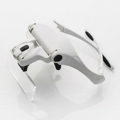 Headset Magnifying Glass Head Light Jeweler Magnifier Loupe Headband LED Lamp AU