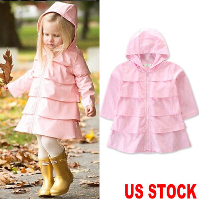 Toddler Baby Girl Kids Hooded Windbreaker Outwear Coat Jacket Overcoat Raincoat
