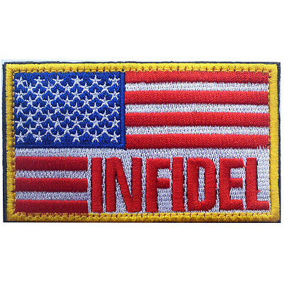 Usa Flag Us Infidel Flag U.s. Army 3D Embroidery Morale Badge Tactical Patch -01