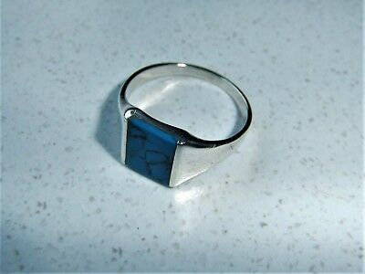 Turquoise Tigers Eye Rectangular Gem Stone 925 Silver Ring Size 10