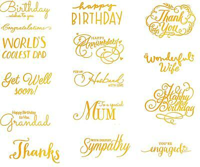 Ultimate Crafts Hot Foil Stamps hotfoil stamp Love Birthday Sympathy Mum Dad