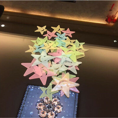 Lot Luminous Stars 3D Wall Sticker Glow In The Dark Kids Room Ceiling Decoration