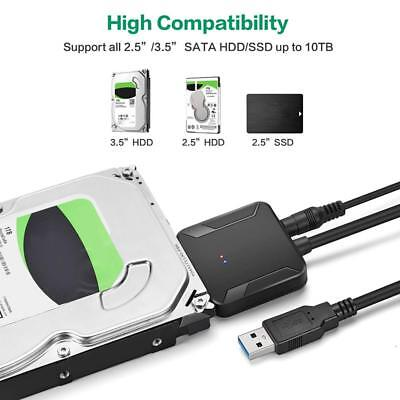 """USB 3.0 to SATA 2.5"""" 3.5"""" HDD SSD Hard Drive Disk Converter Cable Power Adapter"""
