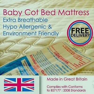 Premium Breathable Baby / Toddler Cot Bed Foam Mattress Quilted Cover- All Sizes