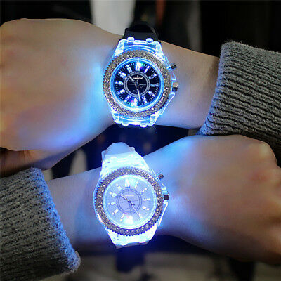 Fashion Men Women Wrist Watch LED Backlight Crystal Quartz Silicone Band Sport