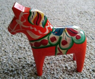 "4""  Swedish Nils Olsson Dala Horse Hand Carved Wood Folk Art Figurine Orange/Red"