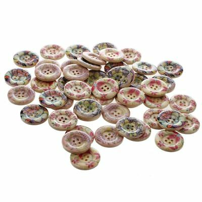 50x Mixed Pattern 4 Holes Wood Sewing Buttons Scrapbooking 25mm Dia. Y8L4