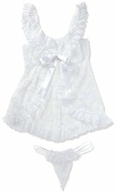 M Softline Collection Babydoll Nuisette Erika avec G-string vita Blanc (pu5)