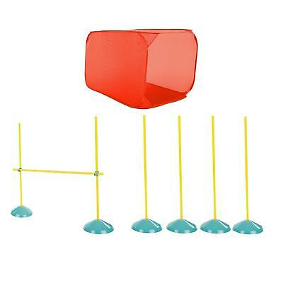 Dog Agility Training Equipment Jump Tunnel Starter Kit Obstacle Course Poles Pet