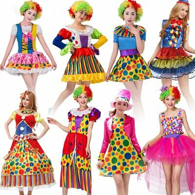 Halloween Circus Clown Costume Harley Quinn Cosplay Fancy Party Dress for Women