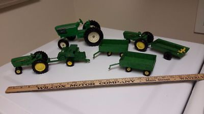 Lot Vintage John Deere Toy Tractors  Ertl With Wagons, Accessories