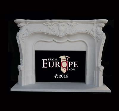 Great Hand Carved Solid European French Design Marble Fireplace Mantel - Ap1