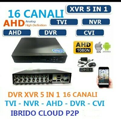Dvr 16 Ch Canali Ibrido Cloud 5 In 1 Nvr Cvi Tvi Hvr Ahd Analogico Full 1080P Wi