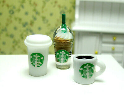3 Dollhouse Miniature Starbucks Chocolate Hot Mocha Coffee Cup Mug set Drink 1/6