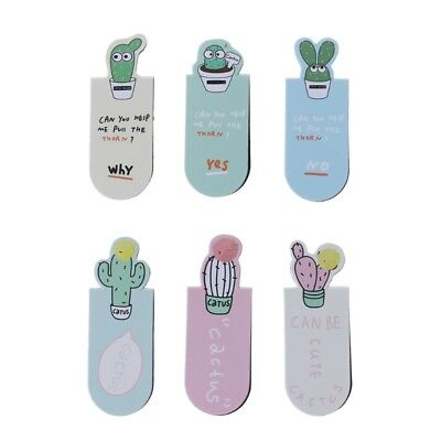 3Pcs /Set Fresh Cute Cactus Magnetic Bookmarks School Office Supplies Stationery