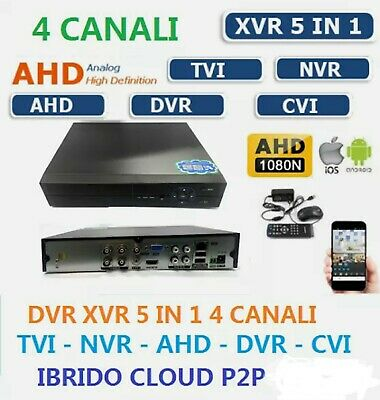 DVR 5in1 AHD CVI TVI CVBS IP 4 CANALI UTC FULL HD 1080N P2P CLOUD HDMI WIFI