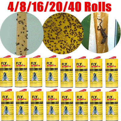 40Pack Insect Catchers Killer Tape Strip Pest Bug Wasp Window Fly Greenhouse lot