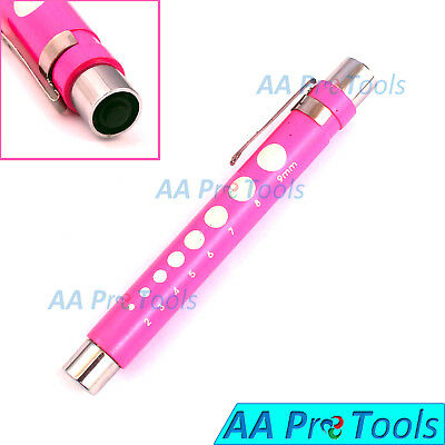 Pen Light, with Pupil Gauge for Nursing Medical Pink with Batteries Reusable