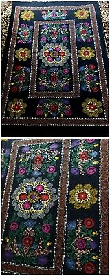 Vintage Uzbek Suzani Silk Embroidered Tapestry on Velveteen Bright Colors!