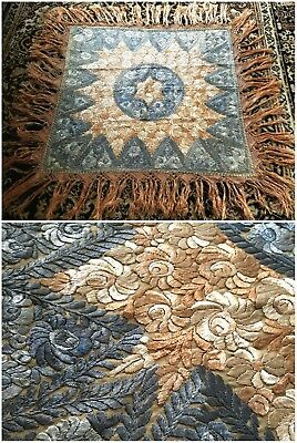 1920s Antique Silk Embroidered Matyo Tablecloth With Fringe Hungarian Excellent