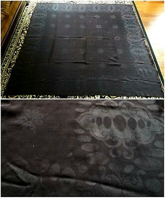1920s Art Deco Black Wool Shawl Antique Designs Some Flaws