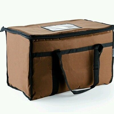 "Brown Nylon, Insulated Food Delivery Bag ,Pan Carrier/ 22""x13""x13"""