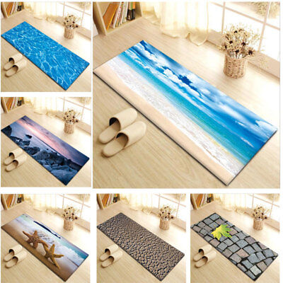 1x Anti-Slip Rug Sea Beach Flannel Kitchen Bath Bathroom Shower Floor Door Mat F